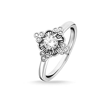 52a6aa3cd77 Thomas Sabo Women Ring Royalty White 925 Sterling Silver, Blackened  TR2221-643-14: Amazon.co.uk: Jewellery