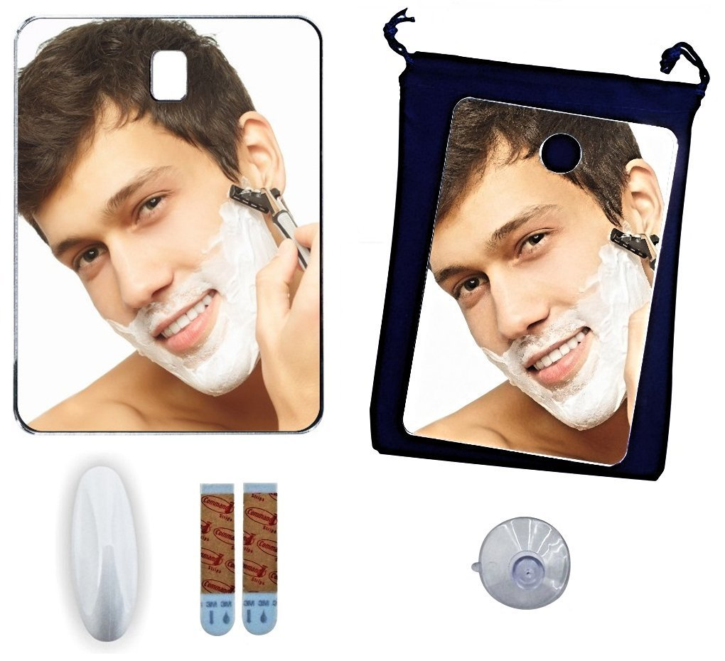 Shower Mirror Set ~ Fog Free Shower Mirrors ~ No Fog Home and Travel Fogless Shower Mirror ~ Shower Shaving Mirror Set INCLUDES Premium Size Mirror, Travel Size Mirror, 3M* Command* Bath Hook, Lined Velvet Drawstring Travel Bag, Large Quality Suction Cup.