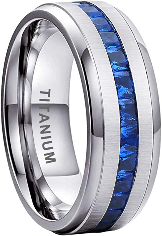 iTungsten 8mm Titanium Rings for Men Women Eternity Wedding Engagement Bands Blue Round/Princess Cubic Zirconia Inlay Beveled Edges Matte Finish Comfort Fit