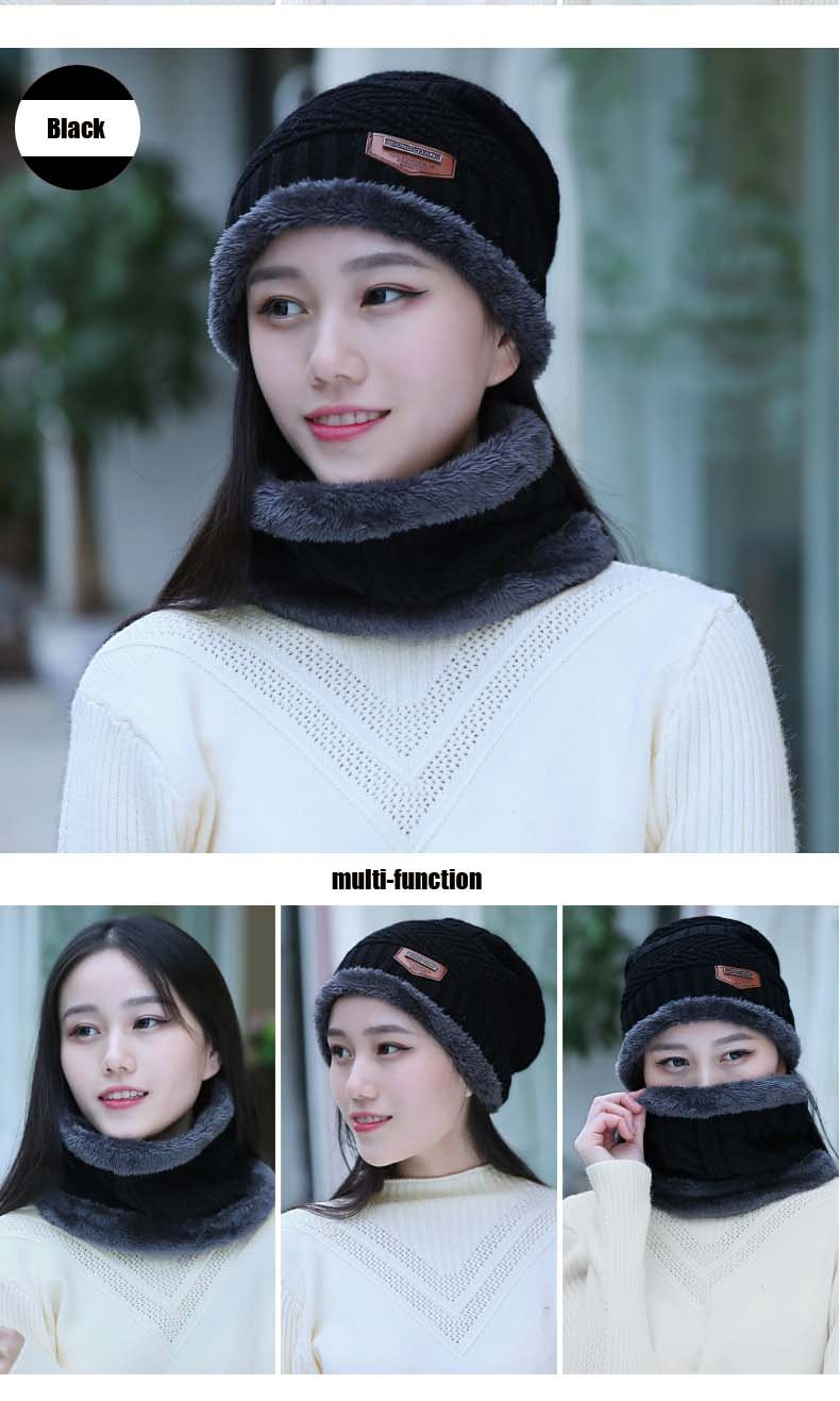 fbc51145bda HINDAWI Winter Hat Scarf Gloves Slouchy Beanie Snow Knit Skull Cap Touch  Screen Mittens Circle Scarves for Women Black - NT2338-BA   Skullies    Beanies ...