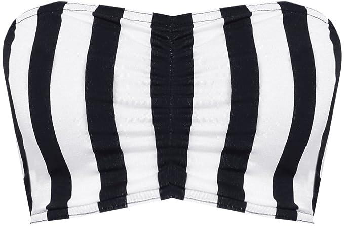 1c09f21bffa Womens Print Strapless Stretch Bra Crop Top Ladies Bandeau Boob Tube -  Black White Striped - 12-14  Amazon.co.uk  Clothing