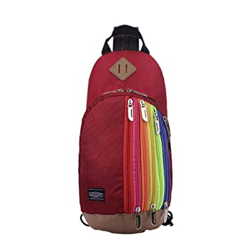 4e2573b0d995 Fashion Rainbow Style Multi-use Nylon Small Outdoor Travel Gear Chest Bag  Sling Hiking Camping