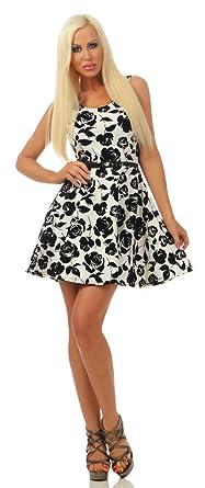 Rosen Mini Kleid Fashion4young Sommerkleid Damen 4842 Glockenrock vwONnPym80