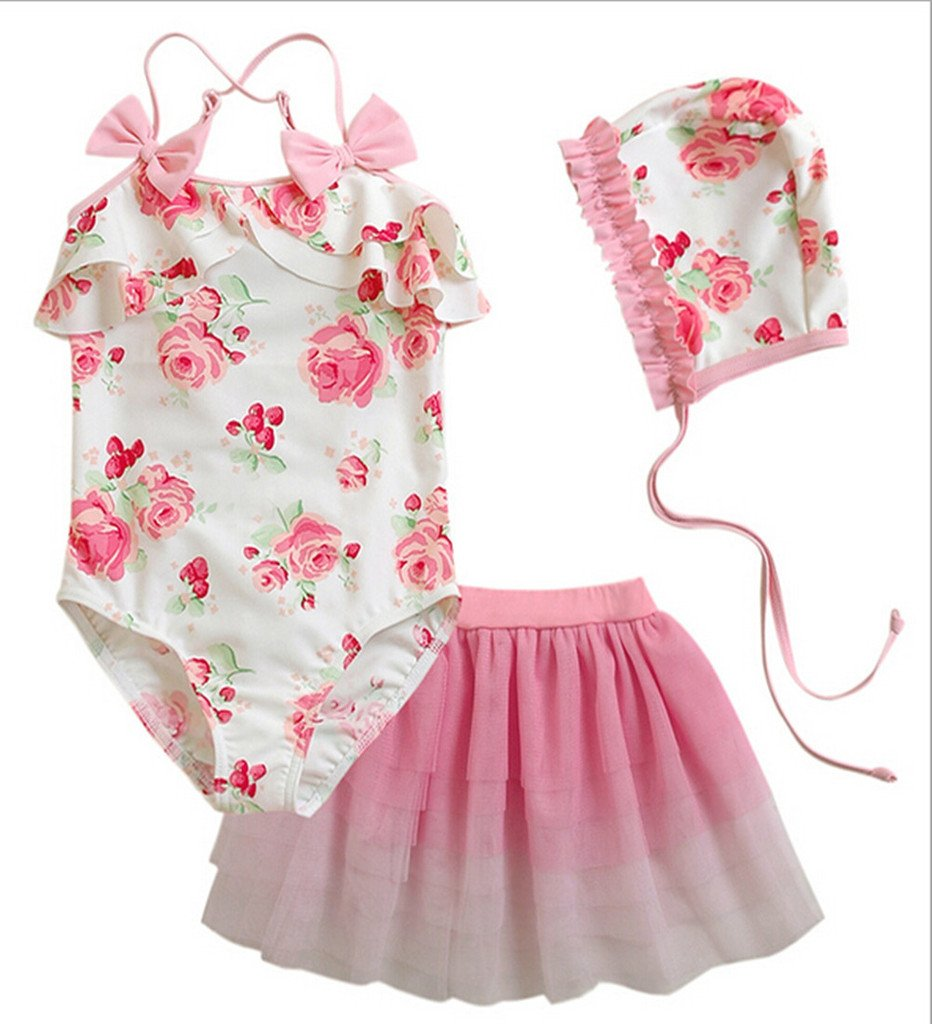 Remeehi Kid Girls Two-piece Swimsuits and Tutu Skirt 3pcs/swimwear