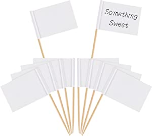 Pangda 100 Pieces Blank Toothpick Flags Cheese Markers White Flags Labeling Marking for Party Cake Food Cheeseplate Appetizers (White)