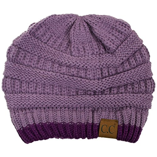 (ScarvesMe Two Tone Soft Stretch Cable Knit Cuff Beanie (Violet/Purple))