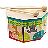 HOMYL Orff Instrument Cartoon Wooden Three Tone Drum with 2 Drumsticks Hand Percussion Kids/Baby Educational Musical Toy