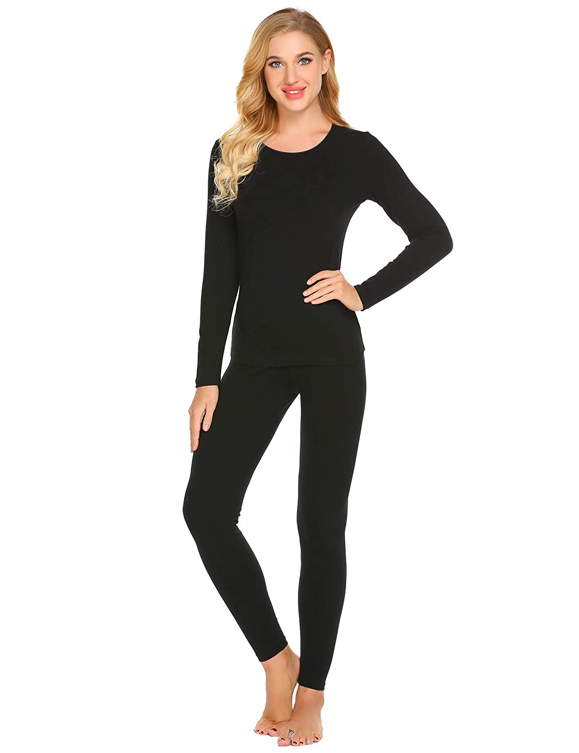 Ekouaer Women's Thermal Underwear Scoop Neck Cotton Long Johns Fleece Lined Winter Base Layering Set S-XXXL EKV007073