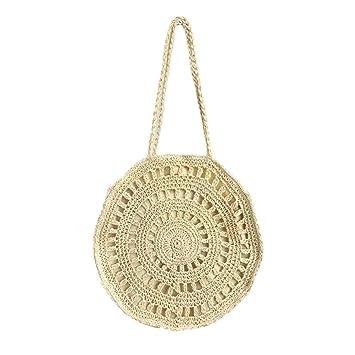Bolsas de hombro para mujer con pajita en verano, bolso de playa, bolso de mano, bolsa de la compra, beige: Amazon.es: Bricolaje y herramientas