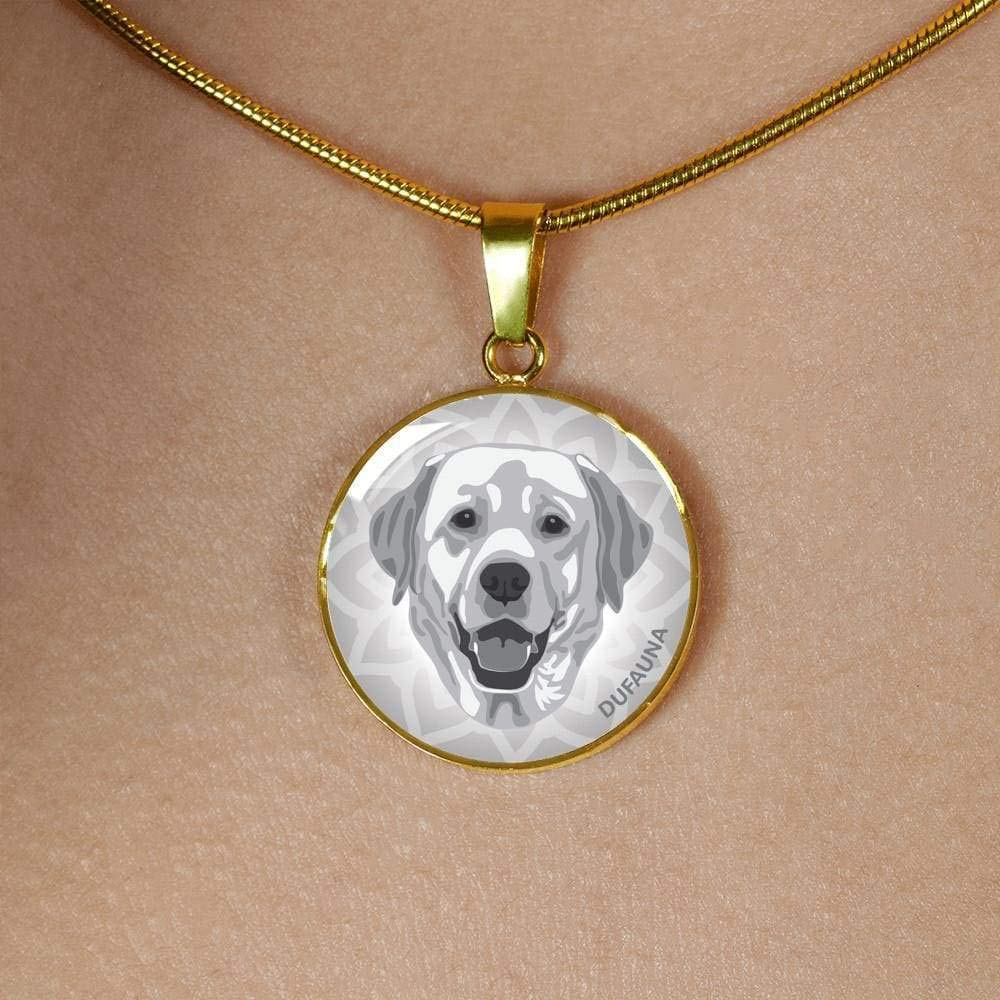 Steel or 18k Gold Finish Many Colors 18-22 DuFauna Grey Labrador Necklace D1