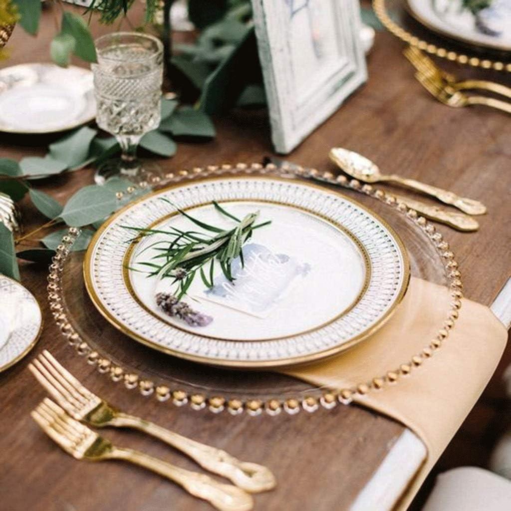 YYF-Vajilla Plato 20.5//26.5cm Perlas de Vidrio Plateadas en Oro Plato Occidental Plato de Carne Plato de Ensalada Banquete Occidental Bandeja de Lujo Color : Oro, Tama/ño : 20.5cm
