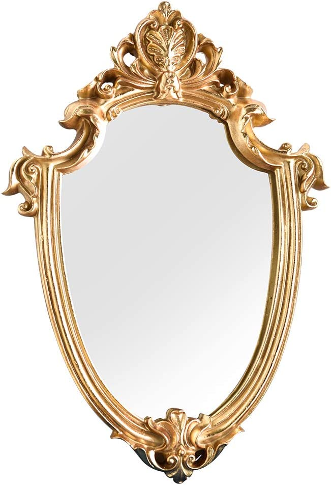 N/P Decorative Wall Mirror, Vintage Carved Hanging Mirrors for Bedroom Living-Room Dresser Decor, Oval Antique Gold (Gold-Small)