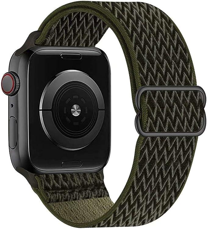Gbpoot Solo Loop Kompatibel Mit Apple Watch Armband Nylon Sport Armband Für Iwatch Series 6 Se 5 4 3 2 1 Armeegrün 38 40mm Elektronik