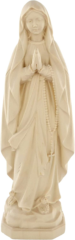 Ferrari & Arrighetti Our Lady of Lourdes Figurine, Natural-Looking Wood, 20 cm / 7 ¾ in Tall Series - Demetz Deur
