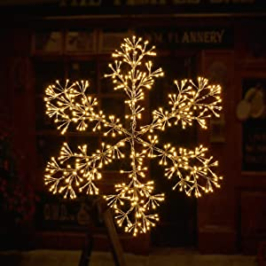 LIGHTSHARE 36Inch 528 Led Starburst Snowflake Light, Twinkle and Warm White Lights, Silver Finish, Plug in for Home Garden Decoration,Winter,Wedding,Birthday,Christmas,Holiday,Party Decoration