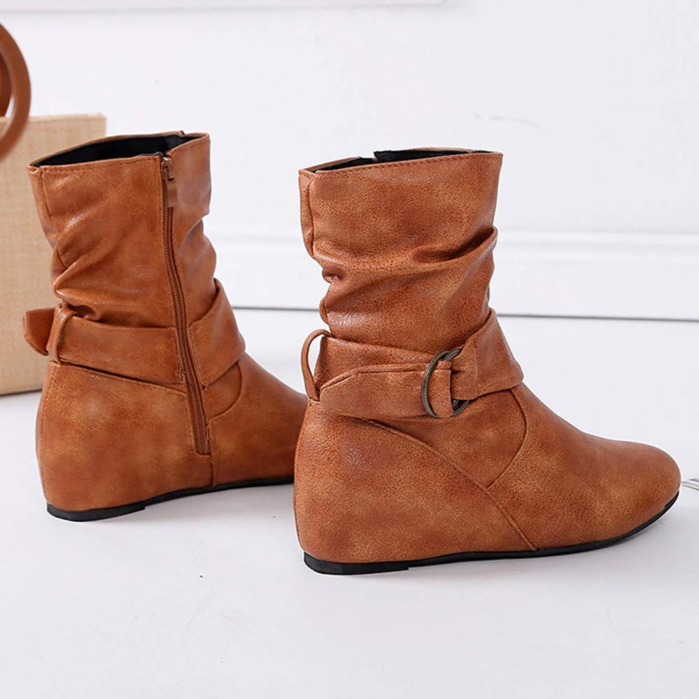 LuckyGirls Botas de Media Ca/ña para Mujer Hebilla Botitas Bot/ín Botas de Nieve Moda Zapatos Aument/ó 5cm Cu/ñas