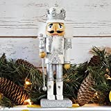 Christmas Holiday Wooden Nutcracker Figure Soldier King with Traditional Silver and White Glitter Uniform Jacket and Crown with Silver Tassels, Rhinestone Sparkle and Braided Details, Large, 10 Inch