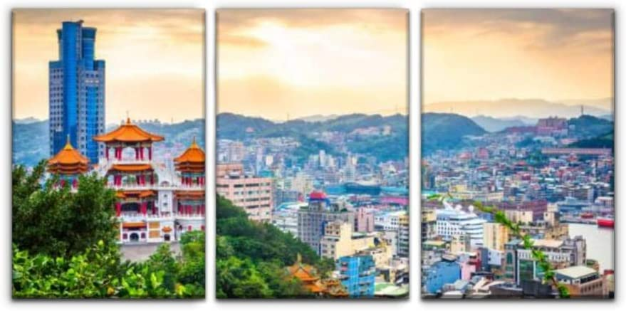 Modern Canvas Painting keelung taiwan cityscape and temples taiwan building stock pictures Wall Art Artwork Decor Printed Oil Painting Landscape Home Office Bedroom Framed Decor (16