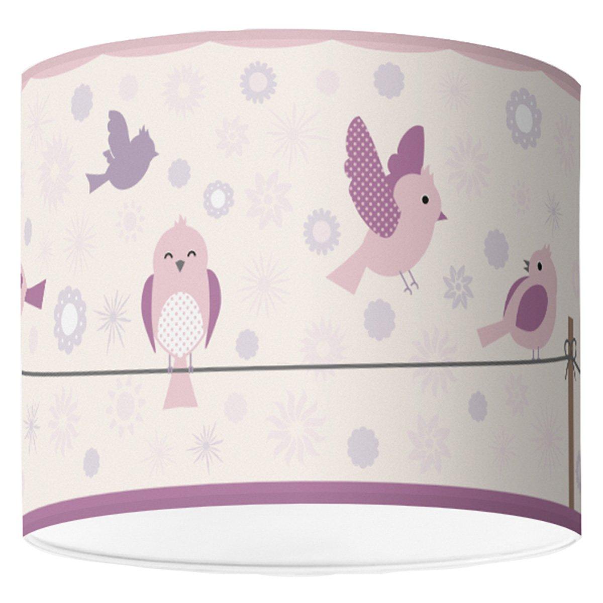 Lampenschirm für Jugendzimmer von Hapytaly - Birds & Flowers Motiv für Baby- und Kinderlampen, Mädchen und Jungen – Ø16 cm - schöne Deckenleuchte, Hängeleuchte, Tischlampe oder Stehleuchte Hängeleuchte HAPYTALY®