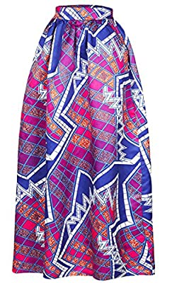 Cromoncent Womens High Waist Dashiki African Print Swing Flare Maxi Skirts