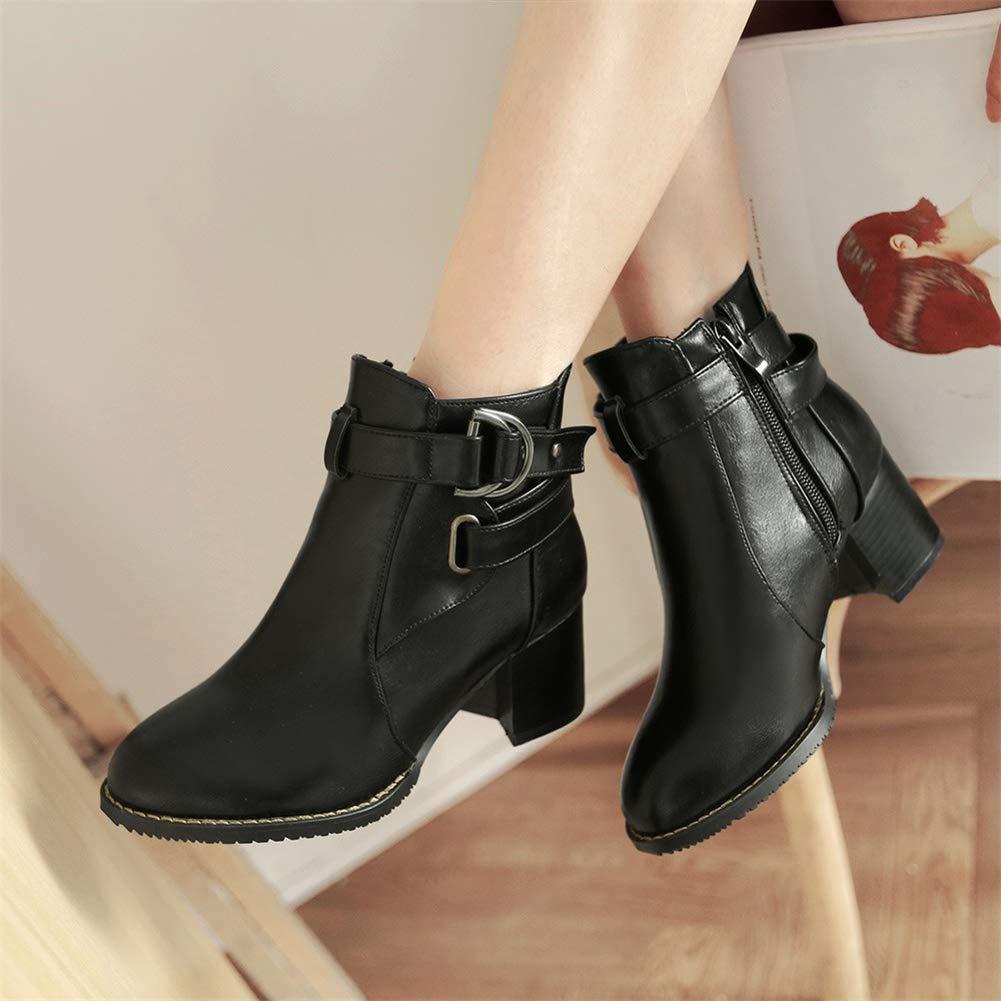 DoraTasia Women's Fashion Rivet Chunky Heel Buckle Ankle Boots Chealse Boots Punk Shoes