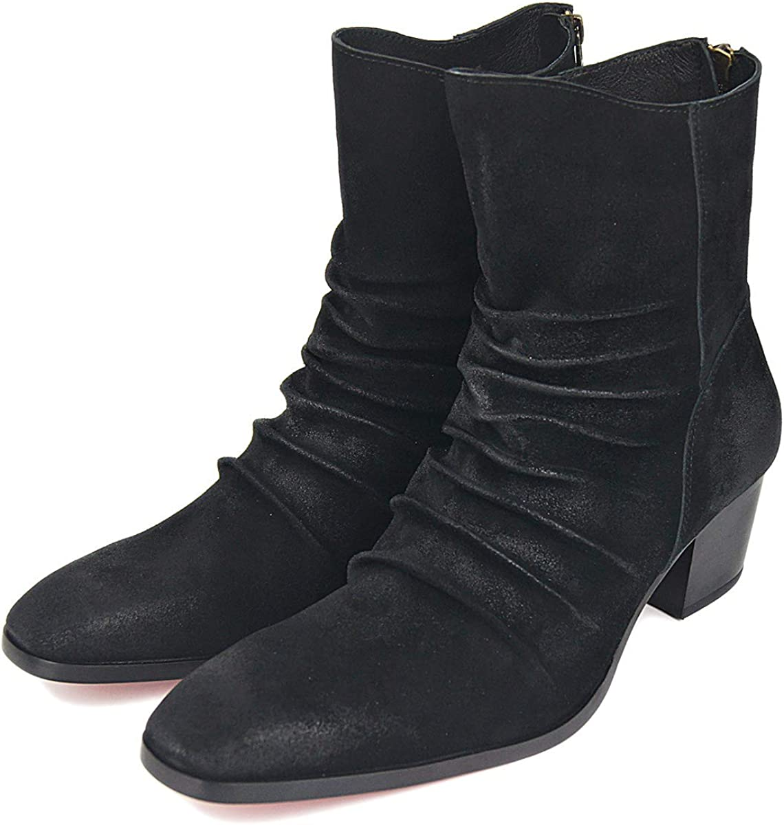OTTO ZONE Dress Boot for Men Leather Chukka Designer Boots Casual Heel Shoes Zipper-up