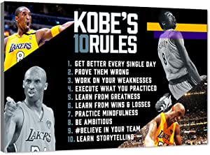 """WeiYang Canvas Wall Art Basketball Player Kobe Bryant Picture Prints on Canvas Kobe's 10 Rules Poster Painting Artwork Home Decor Memorabilia Fan Gifts for Boys Girls Bedroom Framed - 12""""x18"""""""