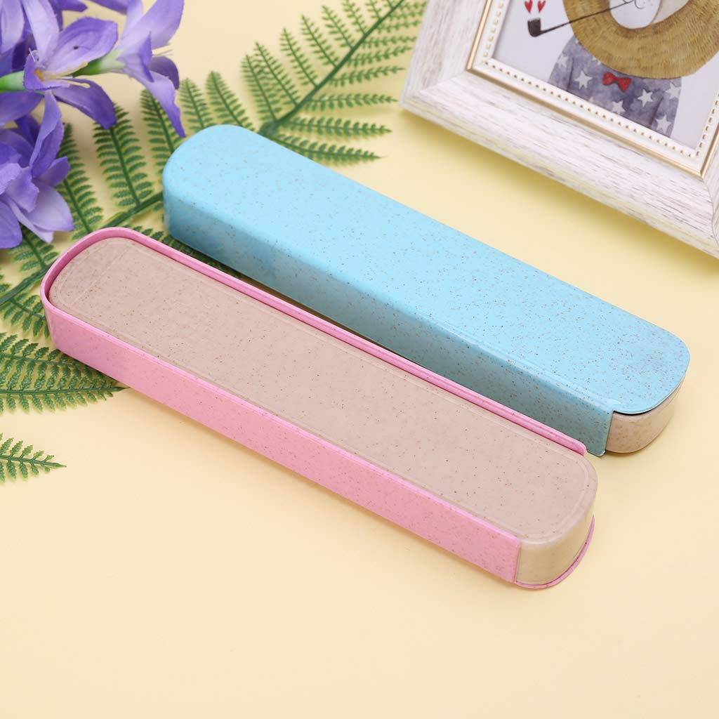 JUNESUN Portable Eco-Friendly Wheat Straw Cutlery Camping Picnic Box Dishware Kitchen Utensils Case Travel Stationery Gift