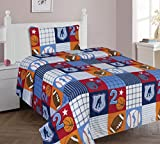 The Liquidator Goods Collections Multicolor Blue White Orange Brown Sports Basketball Football Baseball Soccer Sheet Set for Boys/Kids/Teens … (Twin 3PC Sheets)