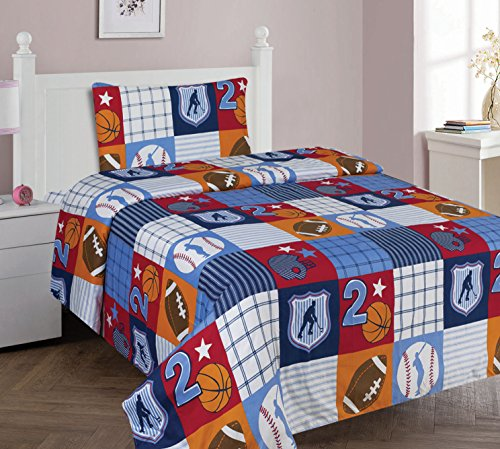 Decotex 3 Piece Patchwork Sports Kids Twin Size Sheet Set (Twin Sheet Set)