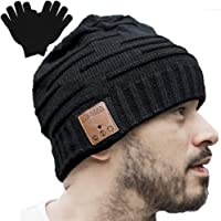 Upgraded Unisex Knit Bluetooth Beanie Winter Music Hat Headphones V4.2 w/Built-in Stereo Speaker Unique Christmas Tech Gag Gifts for Boyfriend/Him/Men/Teen Boys/Stocking Stuffers Best Friend Birthday