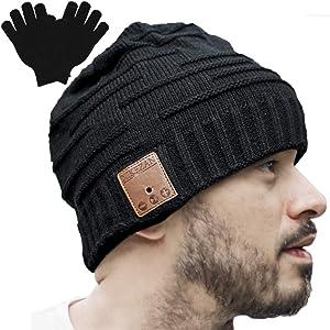 Upgraded Unisex Knit Bluetooth Beanie Winter Music Hat Headphones V4.2 w/Built-in Stereo Speaker Christmas Tech Gag Gifts for Boyfriend/Him/Men/Teen Boys/Stocking Stuffers Best Friend Birthday