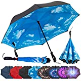 Repel Reverse Folding Inverted Umbrella with 2 Layered Teflon Canopy and Reinforced Fiberglass Ribs (Blue Sky)
