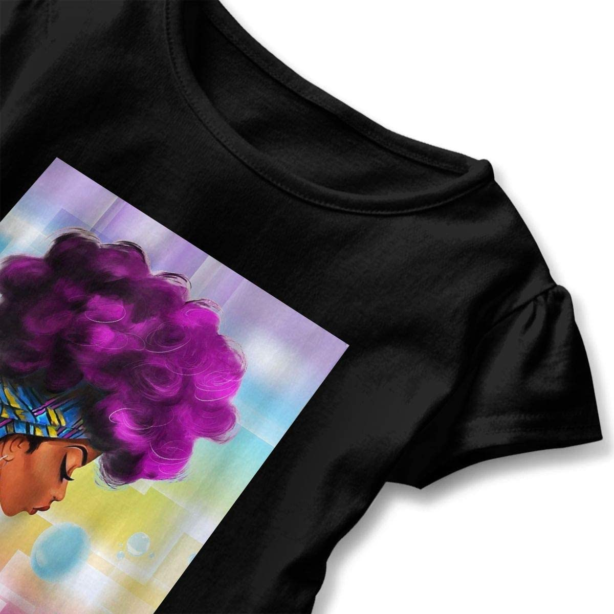 African Woman with Purple Hair Baby Girl Short Sleeve T-Shirt Flounced Cotton Tops for 2-6 Years Old Baby