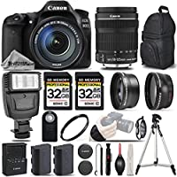 Canon EOS 80D Wi-Fi Full HD 1080P Digital SLR Camera + Canon 18-135mm IS STM Lens + Flash + 0.43x Wide Angle Lens + 2.2x Telephoto Lens. All Original Accessories Included - International Version