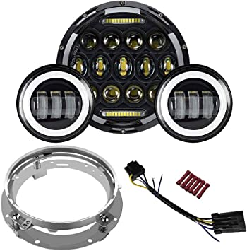 "7/"" Led Headlight Passing Light For Harley Touring Electra Street Glide Road King"