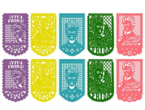 FRIDA KAHLO Large PLASTIC Mexican Papel Picado Banner  10 PANELS  16 Feet Long - Mexican Party supplies decorations  Multicolor
