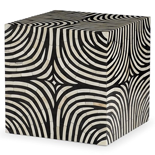 Kathy Kuo Home Rumi Global Bazaar Zebra Print Bone Inlay End Table