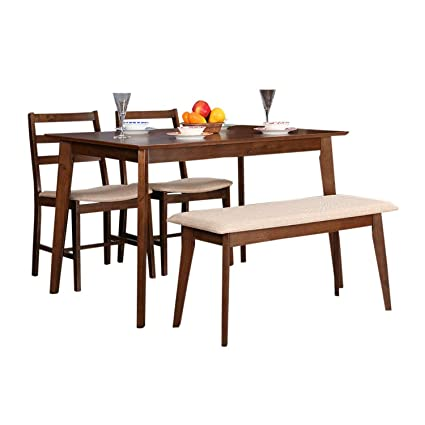 HomeTown Zina Engineered Wood Four Seater Dining Set In Light Walnut Color Amazonin Home Kitchen