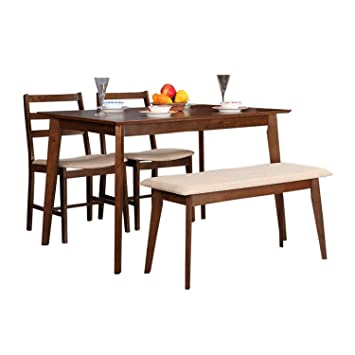Hometown Zina 4 Seater Dining Table Set with Bench (Light Walnut)