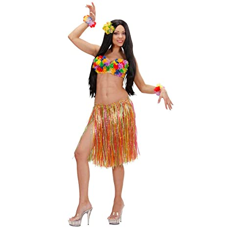 e46245428c34 NET TOYS Gonna hawaiana di rafia costume per adulti carnevale party donna  isolana sottana Polinesia tropicale