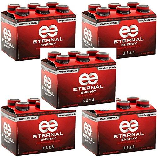 Eternal Energy Premium Energy Shot (Tropical Punch, 6 count, Pack of 5)