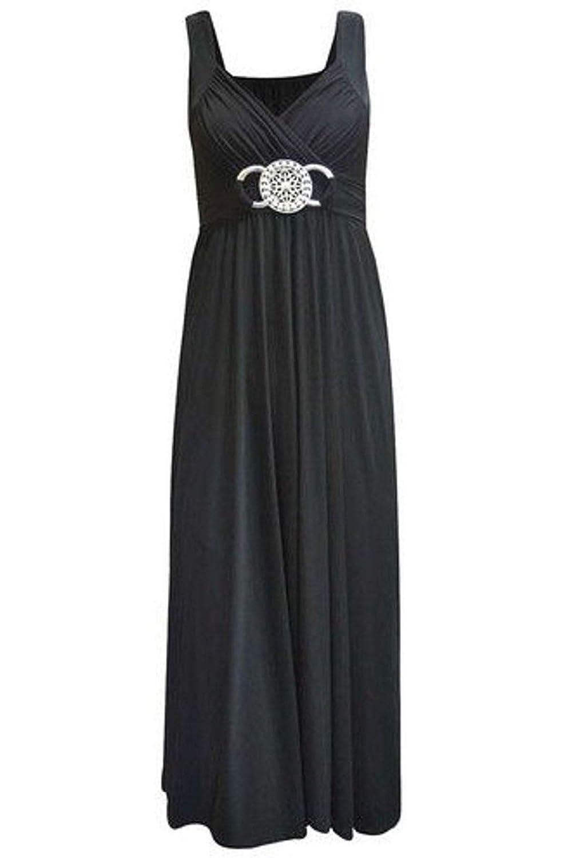 Damen Kleid Ärmelloses Stretch Überkreuzte Träger Schnallengürtel Am Rücken Gebundener Verschluss Langes Maxi Kleid Plus Größen Neu