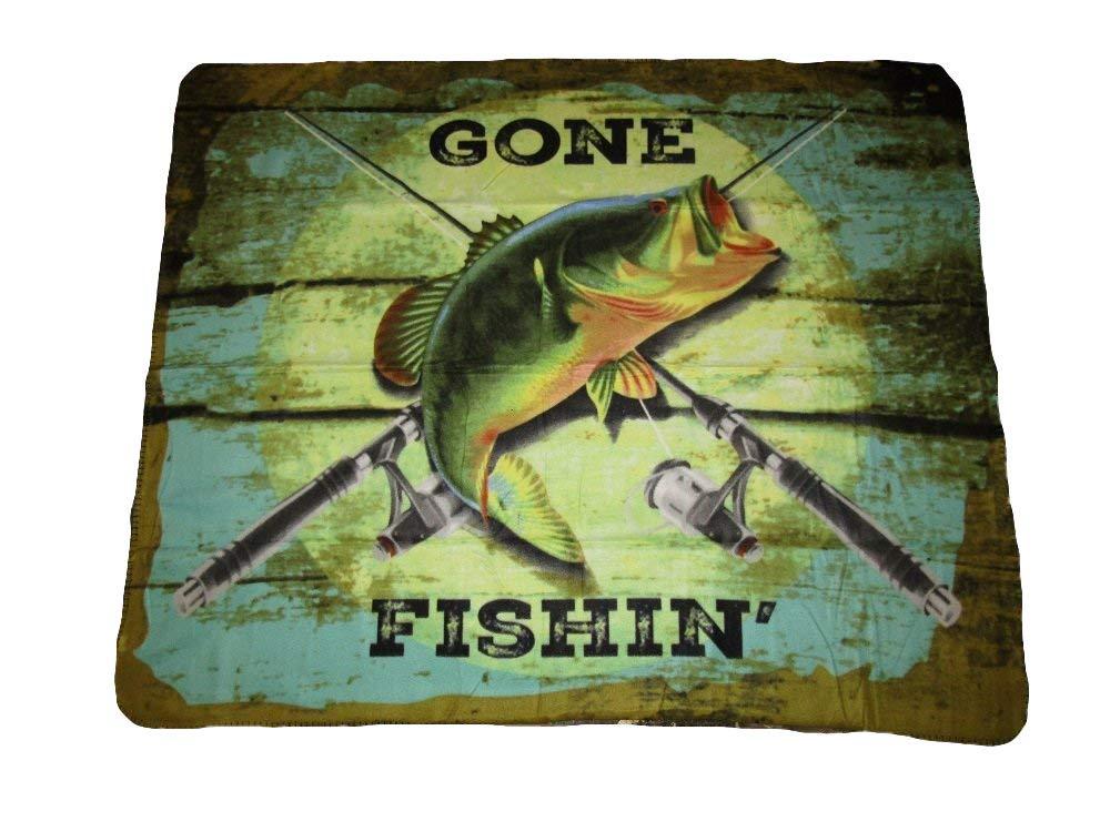 Gone Fishin Fishing Bass Fish 50x60 Polar Fleece Blanket Throw AES