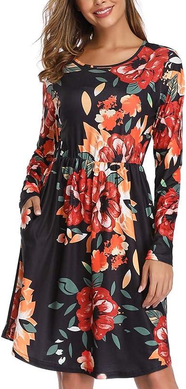 VEMOW Mujer Vestido Estampado Floral Moda Mujer Casual Sólido Cuello Redondo Manga Larga Algodón Bolsillos Dress Blusa Algodón Alinear Vestir Playa Sundress: Amazon.es: Ropa y accesorios