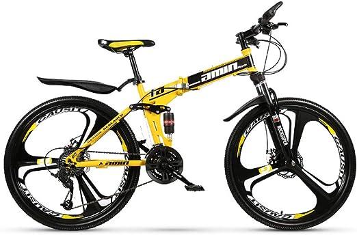 Bicicleta de montaña Plegable Bicicleta de Carreras Plegable Bicicleta de 21 velocidades Cambio de Velocidad Frenos de Doble Disco Plegable Ciclismo de Viaje Neumático de 26 Pulgadas (Amarillo): Amazon.es: Hogar