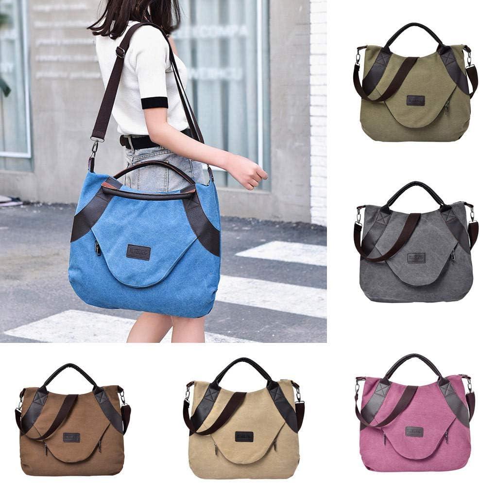 Retro Frauen Canvas Handtasche Messengers Taschen Reißverschluss Große Umhängetaschen Casual Large Capacity Corssbody Wine Blue