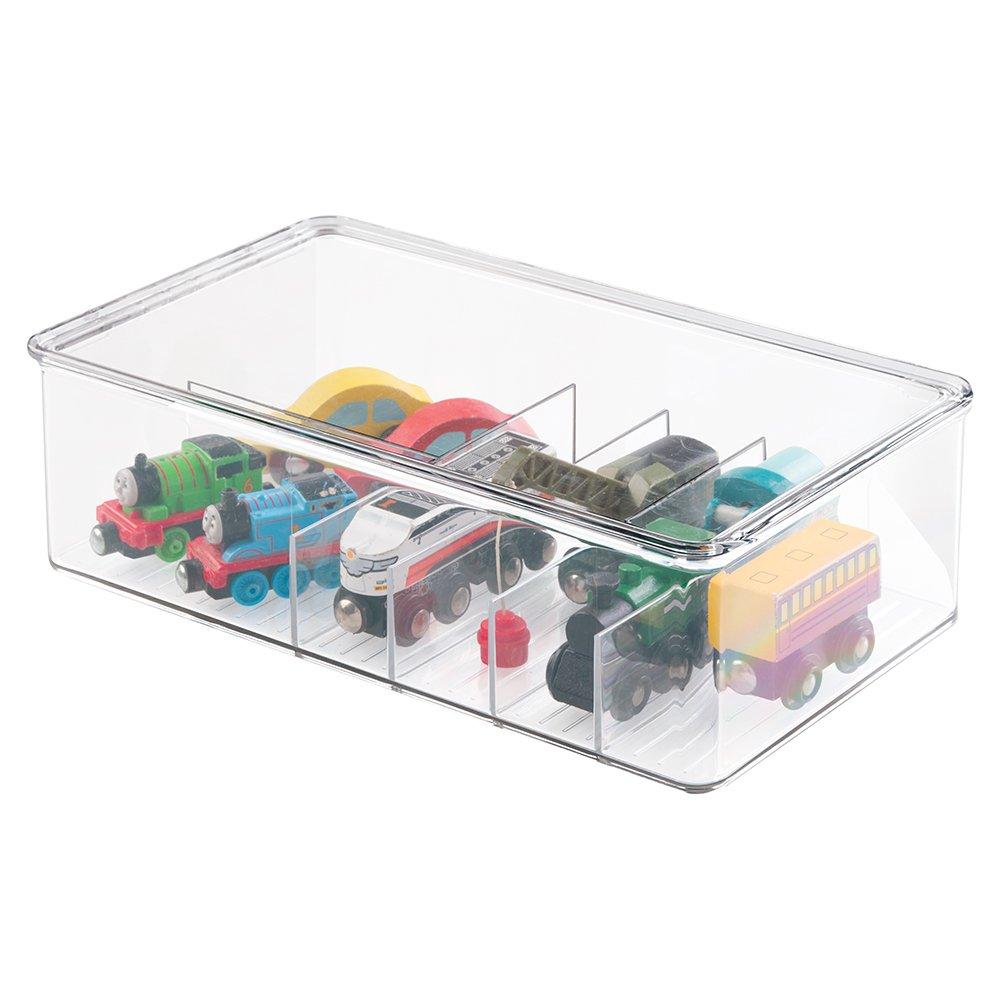 mdesign bac jouet rangement jouet avec couvercle pour des jouets rang s sur une tag re ou. Black Bedroom Furniture Sets. Home Design Ideas