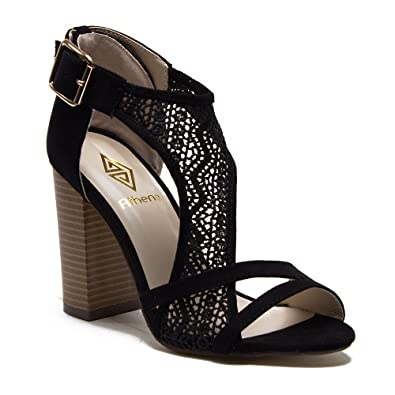 e09a5526ec6 Athena Women s Emily Chunky Block Heel Designer Lace Sandals Heels