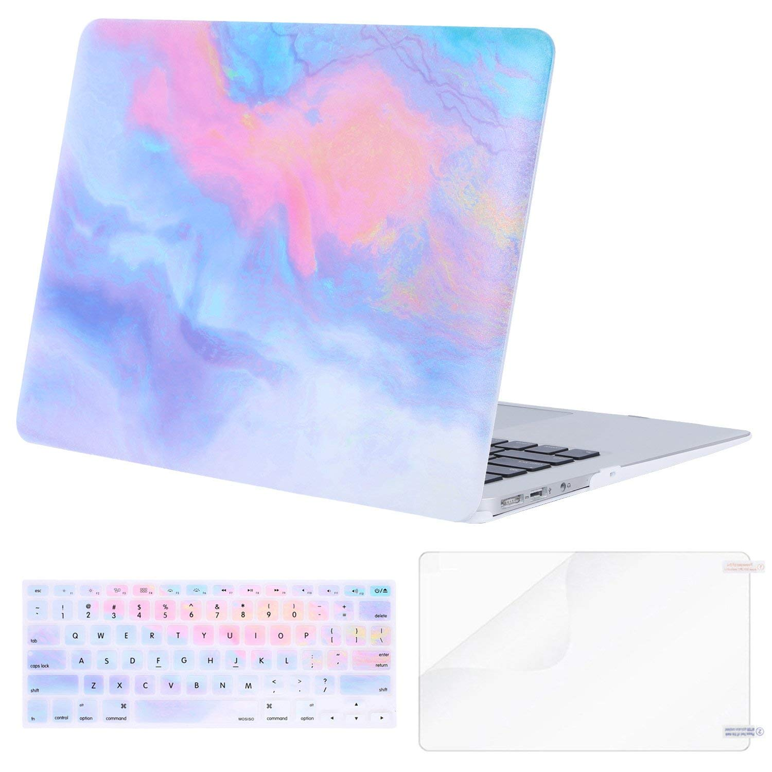Mosiso Plastic Pattern Hard Case with Keyboard Cover with Screen Protector for MacBook Air 13 Inch (Model: A1369 and A1466) Not Compatible 2018 MacBook Air 13 Inch with Touch ID, Watercolor Mandala